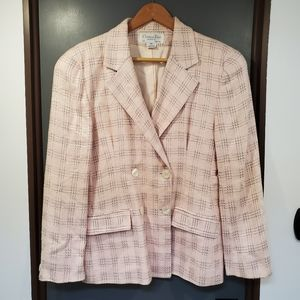 Christian Dior Vintage Baby Pink Plaid Blazer 10